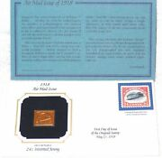 1918 Air Mail Issue 22kt Gold Replica 24 Cent Inverted Jenny Stamp Free Ship