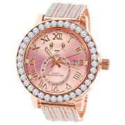 Men's Solitaire Genuine Diamond Rose Gold Tone Finish Pink Dial Ice House Watch