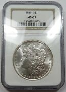1886-p Ngc Ms67 Mint State Morgan Silver Dollar 1 Us Coin Item 26249b