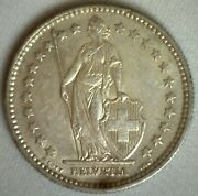 1905 B Switzerland 2 Francs Swiss Silver Coin Almost Uncirculated