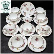 10 Sets Atq Coalport A.d.1750 Dresden Style Hp Bouillon Cups And Saucers Gold Trim