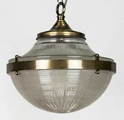 Antique Vintage Art Deco Brass And Glass Ship Ceiling Fixture Hanging Light Lamp