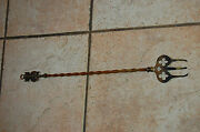 Antique Brass Hearth Fireplace 19 Toasting Fork Lincoln Imp Figure