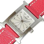 Hermes H Watch Hh1.210 Ladies Leather Belt Silver Dial Qz From Japan [e1120]