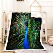 Peacock Opens Screen Clearly 3d Warm Plush Fleece Blanket Picnic Sofa Couch