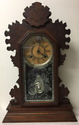 Antique Ansonia Mantel Clock W/signed Glass Panel Spider Web Crescent Moon And Owl
