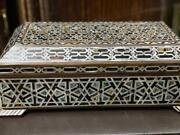 Vintage Egyptian Handmade Wood Jewelry Box Inlaid Mother Of Pearl 16.8x9