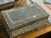 Egyptian Handmade Wood Jewelry Box Inlaid Mother Of Pearl 16.8x9.6