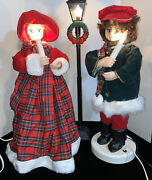 Vintg Animated 3 Pc Victorian Christmas Carolers Illuminated/musical Figs Tested