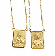 18k Gold Scapular Saint Theresa With Heart Of Jesus - Double Side - Medium Size