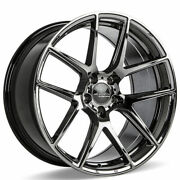4ea 20 Staggered Ace Alloy Wheels Aff02 Black Chrome Rimss45