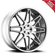 4ea 24 Staggered Azad Wheels Az77 Brushed Face With Chrome Ss Lip Rimss45