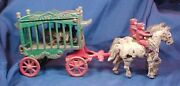 Antique Cast Iron Kenton Toys Horse Drawn Overland Circus Cage With Bear Riders