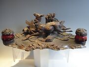 Black Forest Deer And Hunt Dog Double Ruby Glass Inkwell