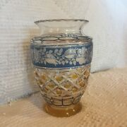 Bohemian Czech Crystal Cut Glass Vase Clear Amber Blue Floral Vintage 6 Tall