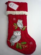 Pottery Barn Kids Snow Owl Quilted Woodland Christmas Stocking Red 8508