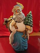 Grateful Dead Jerry Garcia Ceramic Santa Claus One Of Kind Hand Made And Painted