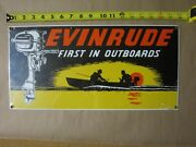Nos Ande Rooney Evinrude First In Outboards Heavy Porcelain Sign 18 X 9