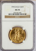 1994 25.00 Gold Half Ounce American Eagle Ngc Ms 70 Rare In This Grade