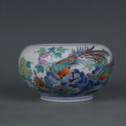 Chinese Old Marked Doucai Colored Pheasants Flowers Pattern Porcelain Water Jar