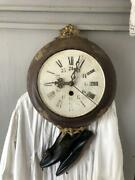 Vintage Antique Rococo Wall Clock Iron Brass Tin Hand-painted Flower Dial