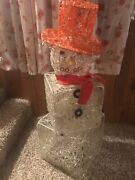 Vintage Snowman Lighted Outdoor Holiday Yard Decoration 36 In High