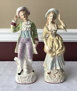 """Pair Of Victorian Style Ceramic Figurines, A Lady And Gentleman, 11"""" T"""