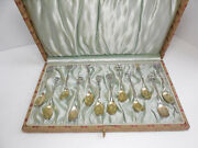 Antique And Co Sterling Silver And039floraland039 Demitasse Spoons Fitted Box 12 Set