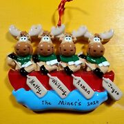 Personalized 2020 Christmas Ornaments Reindeer,moose Family Of 4 Send Me Names