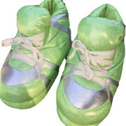 Snooki Slippers Womens Sneaker Slipper Size Small5/6 Sparkly Green And Silver