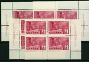 411 Matched Set Plate Blocks Export No.1 Vf Mnh Cat200 Canada Stamps