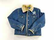 Vintage Disney Tinkerbell Denim Faux Fur Lined Womens Jacket Embroidered Sz S