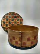 Primitive Round Bent Wood Cheese Pantry Box With Lid 11.5 Hearts And Blue Check