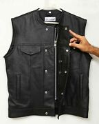 Soa Motorcycle Club Leather Vest Concealed Carry Arm Solid Back Collarless