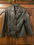 Wilson Women's Brown Leather 3 Button Jacket Size Small