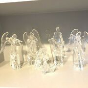 Vintage Icy Crystal Religious Christmas Nativity Figurines