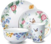 Pfaltzgraff 48 Piece Colorful Butterfly Garden Dinnerware Set Service For 12 New