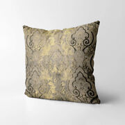 Wk201a Tan Brown Gold Damask Chenille Flower Throw Cushion Cover/pillow Case