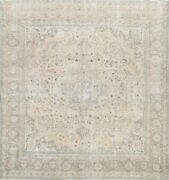 Antique Muted Traditional Distressed Hand-knotted Low Pile Area Rug 9x9 Square