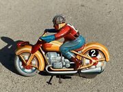 1950s Technofix Tin Plate Wind Up Motorcycle