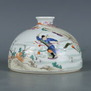 Chinese Old Marked Wucai Colored Character Story Pattern Porcelain Water Jar