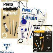 Clairefontaine 250gsm Multi Media Paper Pad Sketch Book Natural Black Grain A4 +