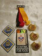 Webelos Boy Cub Scout Wolf Bobcat Scarf Tie Clip Holder Patches Lot Of 7