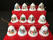 12 Grolier Disney Mickey And Friends 1990s Christmas Bell Ornaments 2 Porcelain