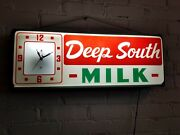 Vintage Deep South Milk Lighted Clock Promotional Advertising Sign Countryman