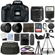 Canon Eos Rebel T100 Dslr Camera Body + 3 Lens Kit 18-55mm + 16gb + Flash And More
