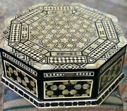 Antique Egyptian Handmade Wood Jewelry Box Inlaid Mother Of Pearl 18x18