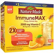 Nature Made Immune Max Fizzy Drink Mix Vitamin C + Zinc And D3 30 Stick Packs