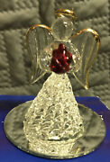 Spun Glass Christmas Ornaments Figurines 24-karat Gold Plated Angel With Rose
