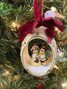 Disney Parks Oval Victorian Mickey And Minnie Mouse Christmas Holiday Ornament